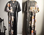 Vintage 70s Hawaiian Lounge/ Tiki/ Maxi / Lounge / Dress / Muu Muu/ Night Gown Black and Floral Print