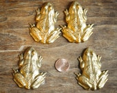 2 Metal Frog Brass Stamping Findings? DRILLED/ Craft Projects Jewelry Design Scrapbook Embelishment Mixed Media Arts and Crafts