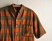 Vintage Plaid Wool Mens Short Sleeve Shirt Handmade Perfection! Fall Colors Dark Orange and Brown