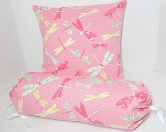 """Pink Pillow cover set, dragonfly pillow, pink green yellow, girl bedroom decor, neck roll bolster 6x14"""", 16"""" cushion cover, custom"""