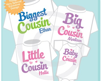 Set of Four Biggest Cousin, Big Cousin, Little Cousin and Baby Cousin Tee Shirts or Onesies (08122016b)