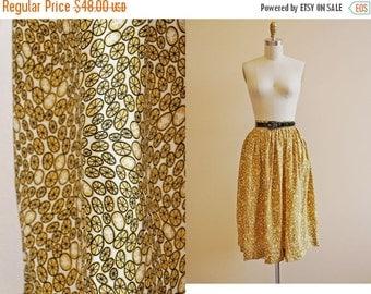 ON SALE 40s Novelty Print Skirt - Vintage 1940s Skirt - Mustard Yellow Black Cold Rayon Dancing Kids Wheels XS S - Life Hands You Lemonade
