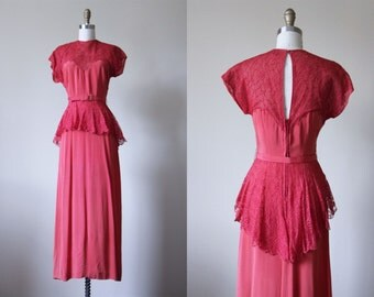 40s Dress - Vintage 1940s Dress - Flowing Coral Lace and Rayon Gown w Peplum and Sweeping Skirt XS S - Brick by Brick Dress