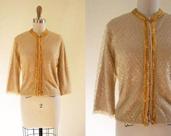 ON SALE 60s Lurex Sweater - Vintage 1960s Neutral Cardigan w Gold Lace and Metallic Trim S M - Tinseltown Cardigan