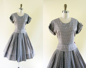 50s Dress - Vintage 1950s Party Dress - Black White Pink Painted Print Rhinestone Circle Skirt Peplum Dress S - Cutting Edge Dress