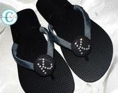 Swarovski Bridesmaid Flip Flops - Personalized in crystal rhinestones- Flannel gray and black