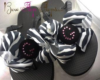 Bling Zebra Bow Flip Flops. Crystal Personalized Rhinestone Initial. Children & Ladies Flip Flops. Great Wedding Sandals Gift Bridesmaids