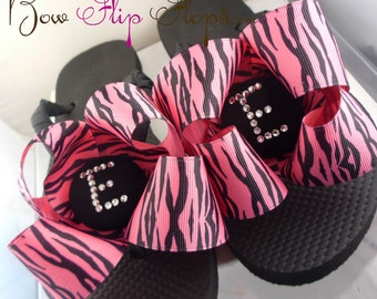 Hot Pink Zebra/Many Color/ Bow Flip Flops - choose initial Monogram, Swarovski Rhinestone and Ribbon. Gift for Bridesmaid Flip Flops