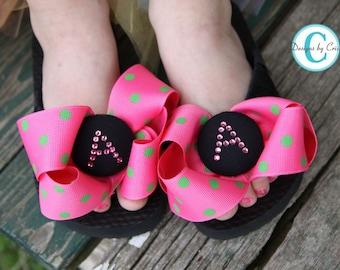 Customizable Rhinestone Flip Flops. Ladies/Girls/ Wedding Bridesmaid Flip Flop Sandals/ Personalized Shoes