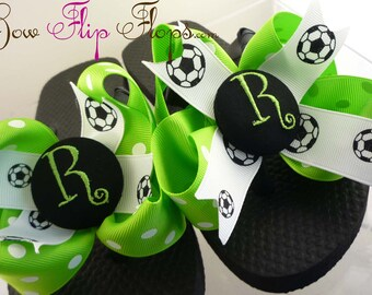 Soccer Bow Flip Flops with Personalized Initial and Custom Ribbon Colors. Girls sizes- many colors- ladies. Great Gift