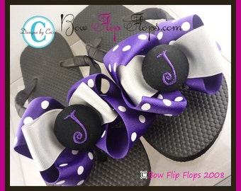 Bridesmaid Flip Flops with purple polka, silver and black bows on flat or wedge flip flops - personalized- choose size & initial