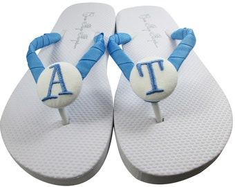 Shop for Bridesmaid wedding flip flops for the bride and bridal party sandals - with monogrammed initial - personalized. Color size select