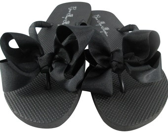 Bow Flip Flops for Ladies and Girls, Flat or Wedges- Choose custom ribbon colors, Bridesmaid or Wedding or Vacation Flip Flops