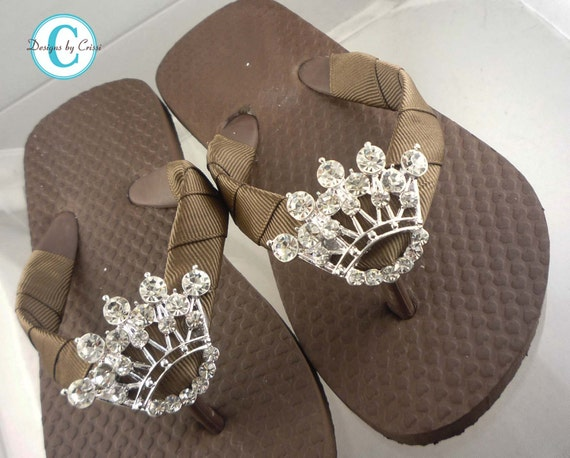 Crown Flip Flops in Brown Sandals or Many Colors! Custom Bling Rhinestone Flip Flops