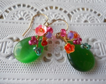 Green tiger-eye handmade teardrop dangle flower earrings, sequins, seed beads, glass beads,gold plated French ball ear wires/lovely gift