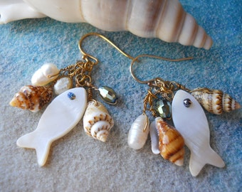 Earrings with a seaside theme/freshwater pearls/tiny shells/abalone shell-fish,faceted glass beads,glass seed beads,French ear-wires,gift