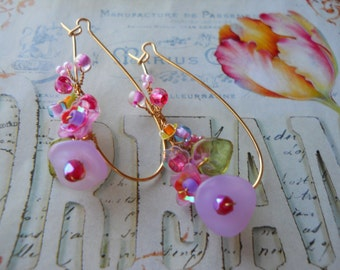 Lavender,magenta,hot pink,yellow,orange,pink, green,glass beads,sequins,Czech glass flower & leaf beads,elongated gold ear-wires/lovely gift