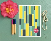 Greeting Card Colorful Stripes / Hello Note Card / Thinking of You Card / Birthday Card / Thank You Card / Happy Mail / Generic Card