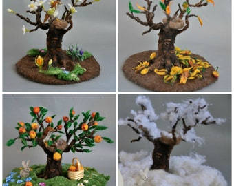 Needle felted Waldorf  Seasonal tree Spring, Winter, Summer and Autumn for your natural table-needle felt by Daria LvovskyMade to order