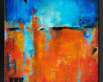 Courage of The Heart - Abstract Acrylic Painting on canvas - Contemporary Urban Modern Fine Art