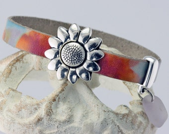 NEW! Multicolor Leather Silver Daisy Wrap Bracelet