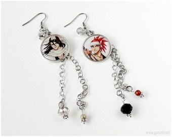 Renji x Byakuya Earrings, Long, Chain, Wire Wrapped, Bleach, Anime Jewelry