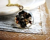 Mica Flake Necklace, Geology Necklace, Nature Lovers Jewelry, Resin Jewelry, Long Layering Necklace, Boho Jewelry