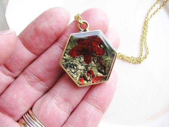 Stamped metal art necklace minimalist art jewelry red flower for Minimal art jewelry