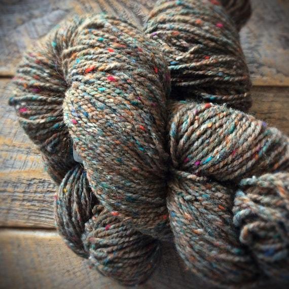 Peace Fleece Grass Roots, virgin wool, worsted weight knitting yarn, tweed wool