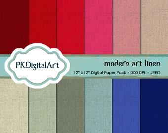 Modern Art linen digital scrapbook paper; linen backgrounds and textures in rich shades