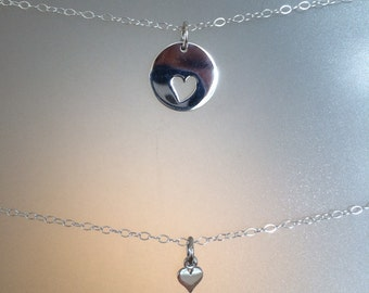 Mommy and Me set of TWO sterling silver Heart Charm Necklaces, Mothers Day, Baptism, Confirmation, Birth, Push Present, layering necklace