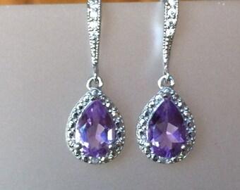 3 ct. Amethyst and Diamond drop sterling silver earrings