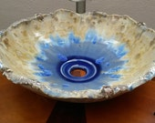 "MADE TO ORDER Handmade Organic Undulating Rim Turtles on Sandy Beach Your Color Crystalline Glazed Porcelain Vessel Sink Up to 15"" Wide"