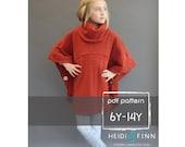 Veritas cape poncho pattern and tutorial 6Y-14y  holiday jacket  coat bolero PDF
