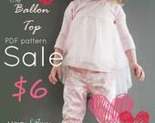 SALE Ballon Top pattern and tutorial 12m -12y chiffon ballet tee shirt blouse PDF