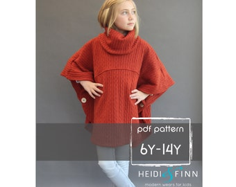 NEW Veritas cape poncho pattern and tutorial 6Y-14y  holiday jacket  coat bolero PDF