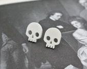 white skull stud earrings - halloween jewelry - gothic earring - lightweight plastic - gift box