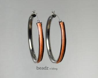 Black Gunmetal Hoop Earrings, Big Hoops, Brown Leather Embellished Big Hoop Earrings, Tribal Style Leather Jewelry
