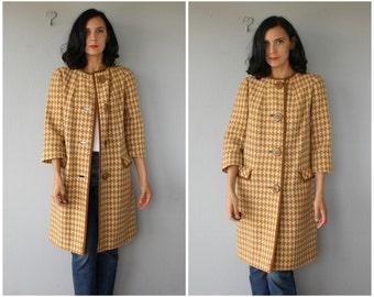 1960s Coat | Vintage 1960s Wool Coat | Houndstooth Coat | Joseph Magnin Coat | 60s Coat