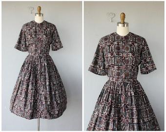 50s Day Dress | Vintage 1950s Dress | Vintage 50s Dress | 50s Shirtwaist Dress | Printed Dress 50s | 1950s Cotton Dress