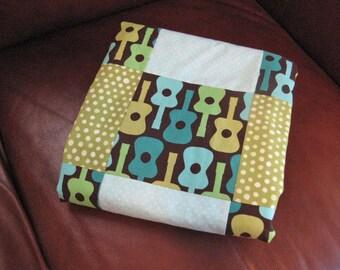 Baby Quilt Boy - Guitars Lime Aqua Baby Blanket/READY To SHIP/Minky/Crib Cot Blanket