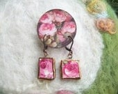 Broken China Earrings, Vintage Rose Floral Design