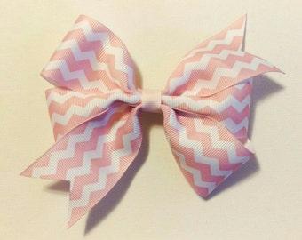 Hair Bow - Light Pink Chevron Print Pinwheel Hairbow