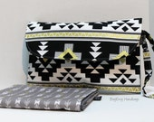 READY TO SHIP - Large Fold Over Diaper Clutch and Changing Pad  - Aztec Navajo Blanket and Arrows / Black and Gold
