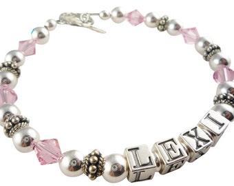 Pink Crystal Mother's Bracelet -Custom Jewelry for Grandma or Mom, child gift, grandchildren name bracelet - choose color