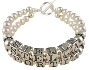 Mothers Bracelet - two double strand name bracelet for Mother, Mom, Grandma- swarovski pearls- choose colors