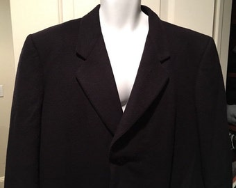 Jaeger Pure Cashmere Coat Overcoat Black Italy Jacket Perfect 42