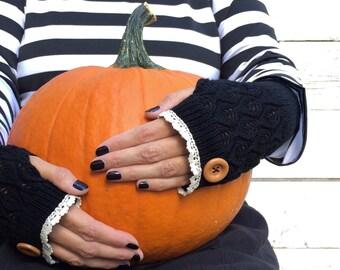 Fingerless Gloves, Knit Fingerless Gloves, Black Fingerless Gloves, Half Finger Gloves, Winter Gloves, Mittens, Lace Gloves