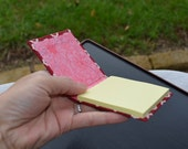 Sticky Notepad with Fabric Cover - Red/Pink