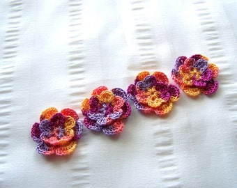 Appliques hand crocheted flowers set of 4 fruit fizz cotton 1.5 inch